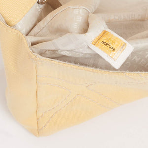 Vintage Chanel yellow canvas no5 flap bag