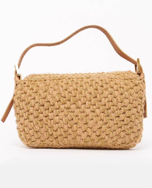 Vintage Fendi wool knit baguette bag