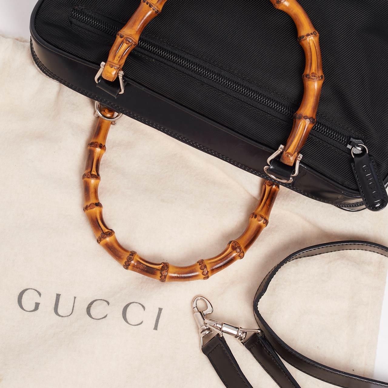 Vintage Gucci bamboo nylon leather shoulder bag