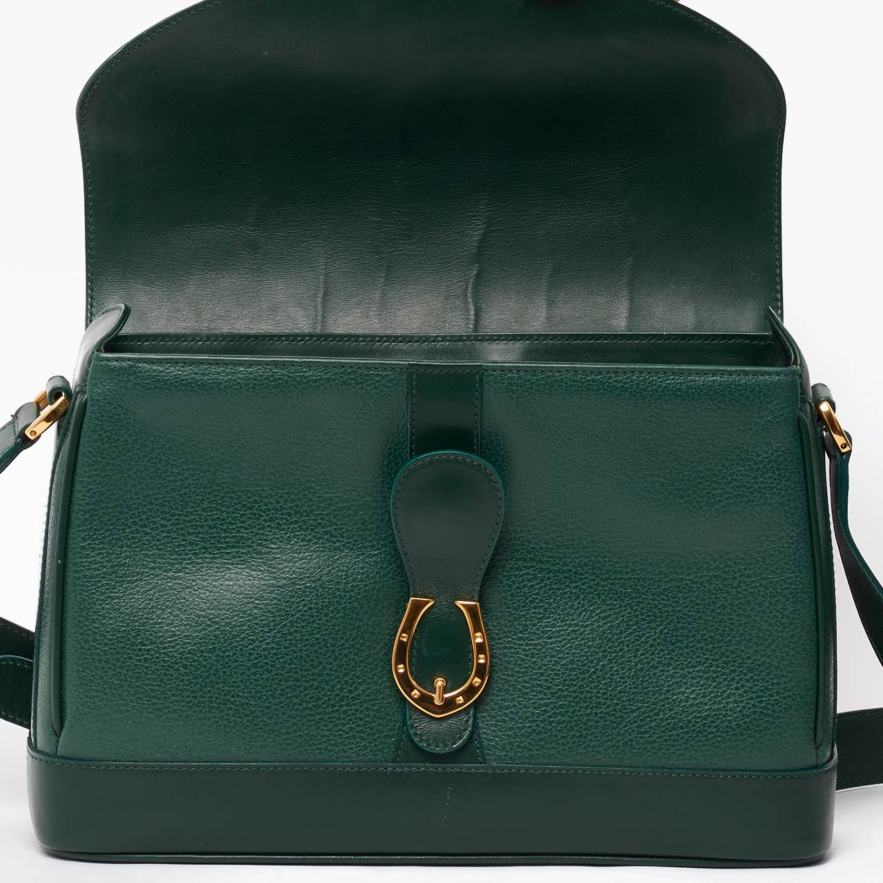 Vintage Gucci green leather saddle cross body bag