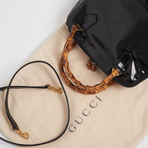 Vintage Gucci patent bamboo shoulder bag