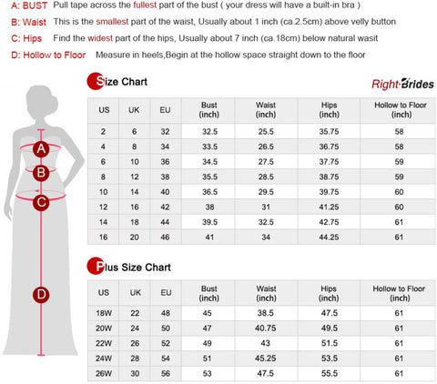 Size Chart & Measuring Guide from RightBrides