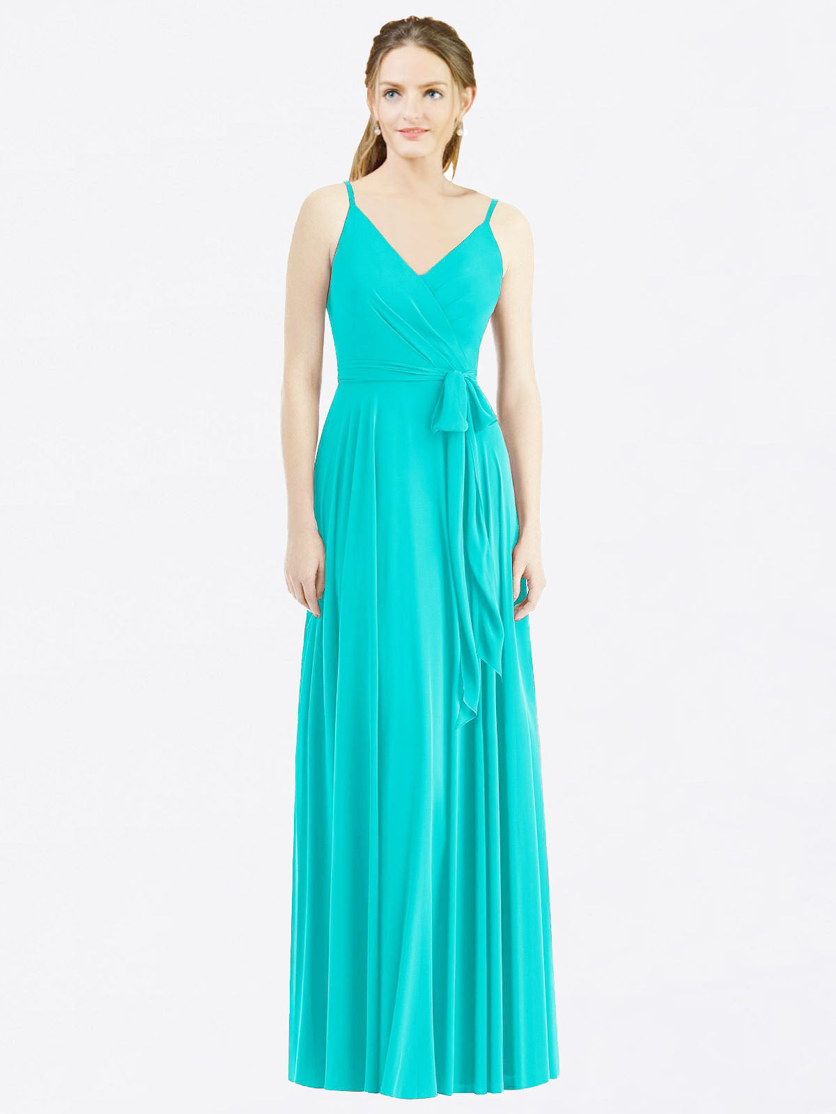 Long A-Line Spaghetti Straps, V-Neck Sleeveless Aqua Chiffon Bridesmaid Dress Madilyn