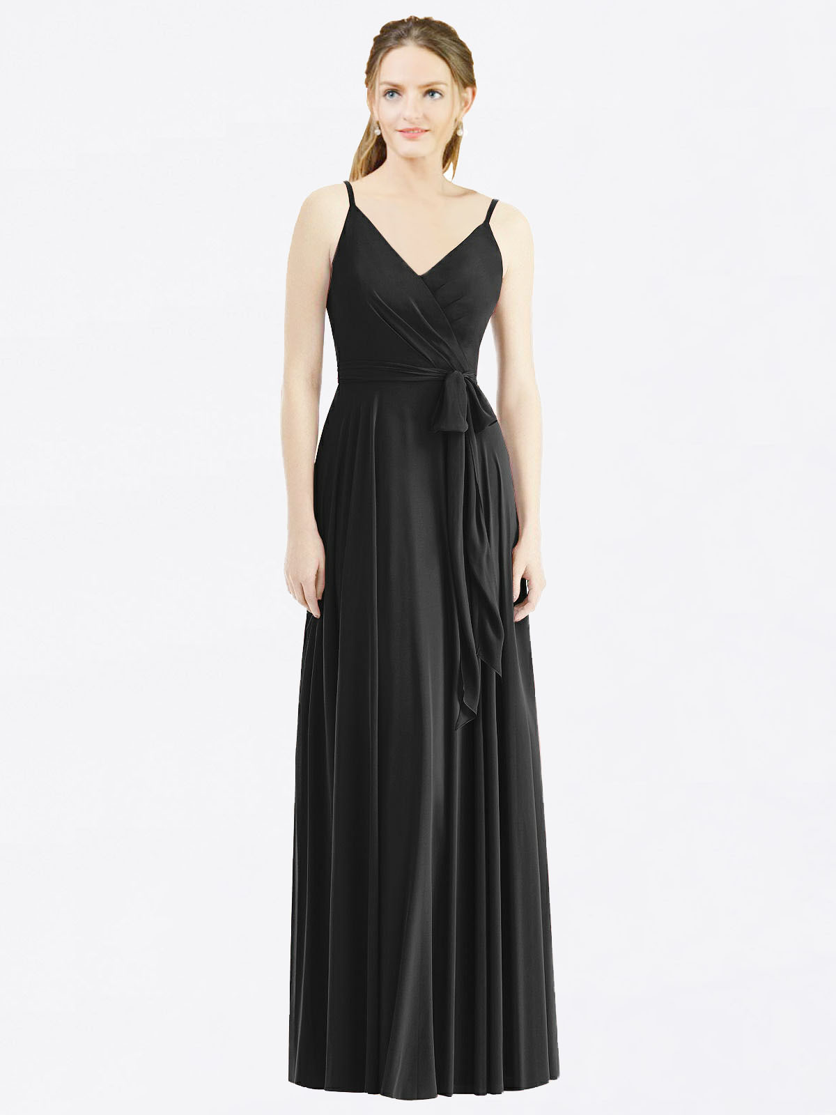 Long A-Line Spaghetti Straps, V-Neck Sleeveless Black Chiffon Bridesmaid Dress Madilyn