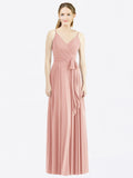 Long A-Line Spaghetti Straps, V-Neck Sleeveless Bliss Chiffon Bridesmaid Dress Madilyn