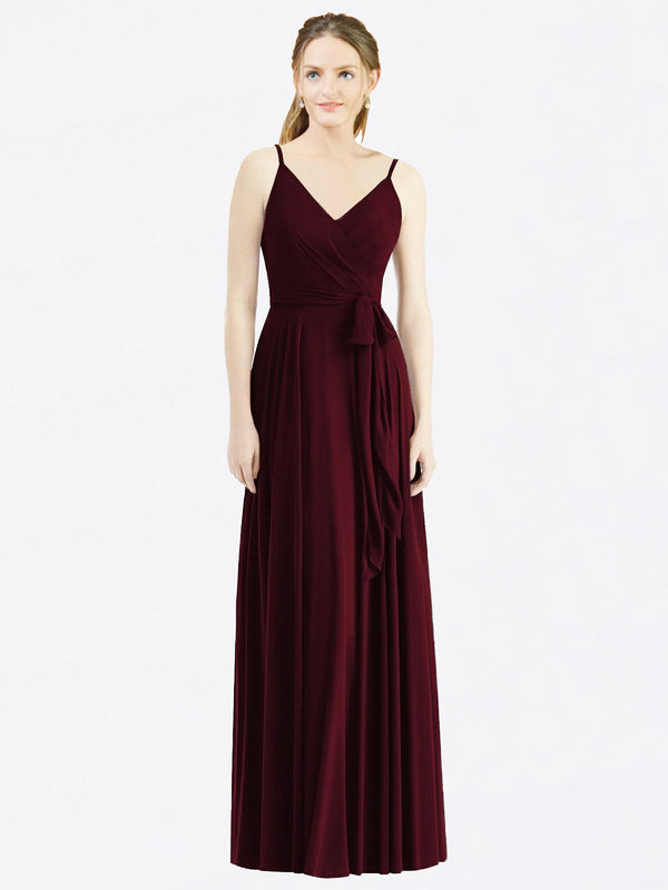Long A-Line Spaghetti Straps, V-Neck Sleeveless Burgundy Gold Chiffon Bridesmaid Dress Madilyn