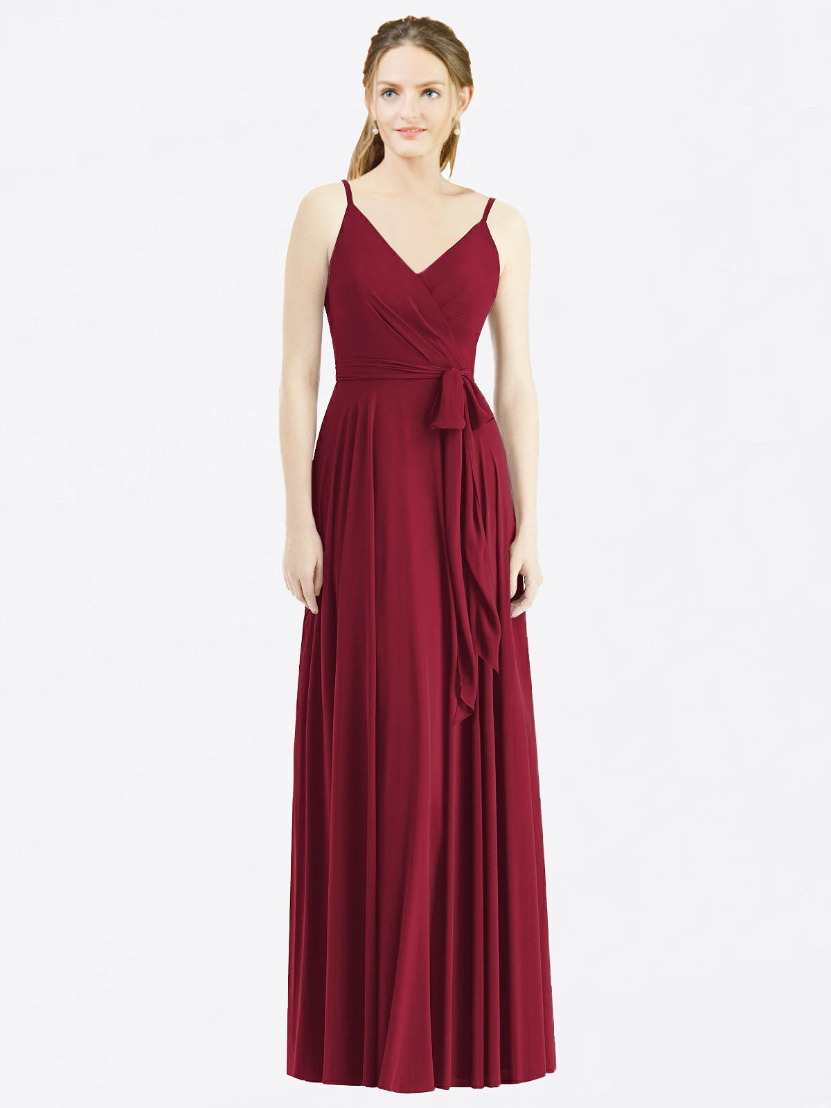 Long A-Line Spaghetti Straps, V-Neck Sleeveless Burgundy Chiffon Bridesmaid Dress Madilyn