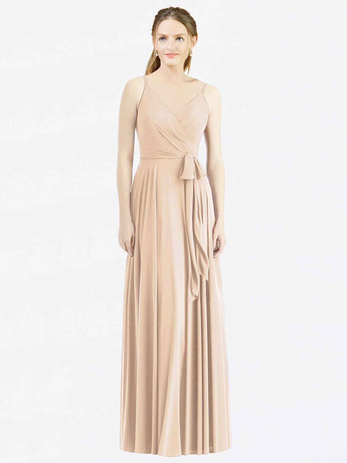 Long A-Line Spaghetti Straps, V-Neck Sleeveless Champagne Chiffon Bridesmaid Dress Madilyn