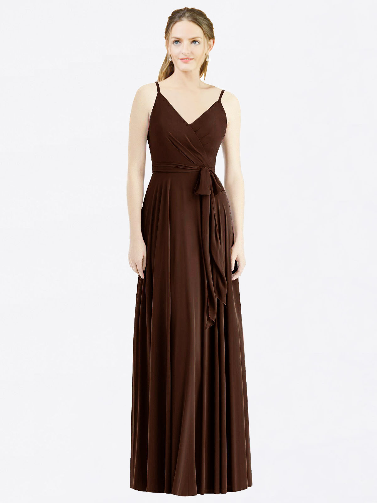 Long A-Line Spaghetti Straps, V-Neck Sleeveless Chocolate Chiffon Bridesmaid Dress Madilyn