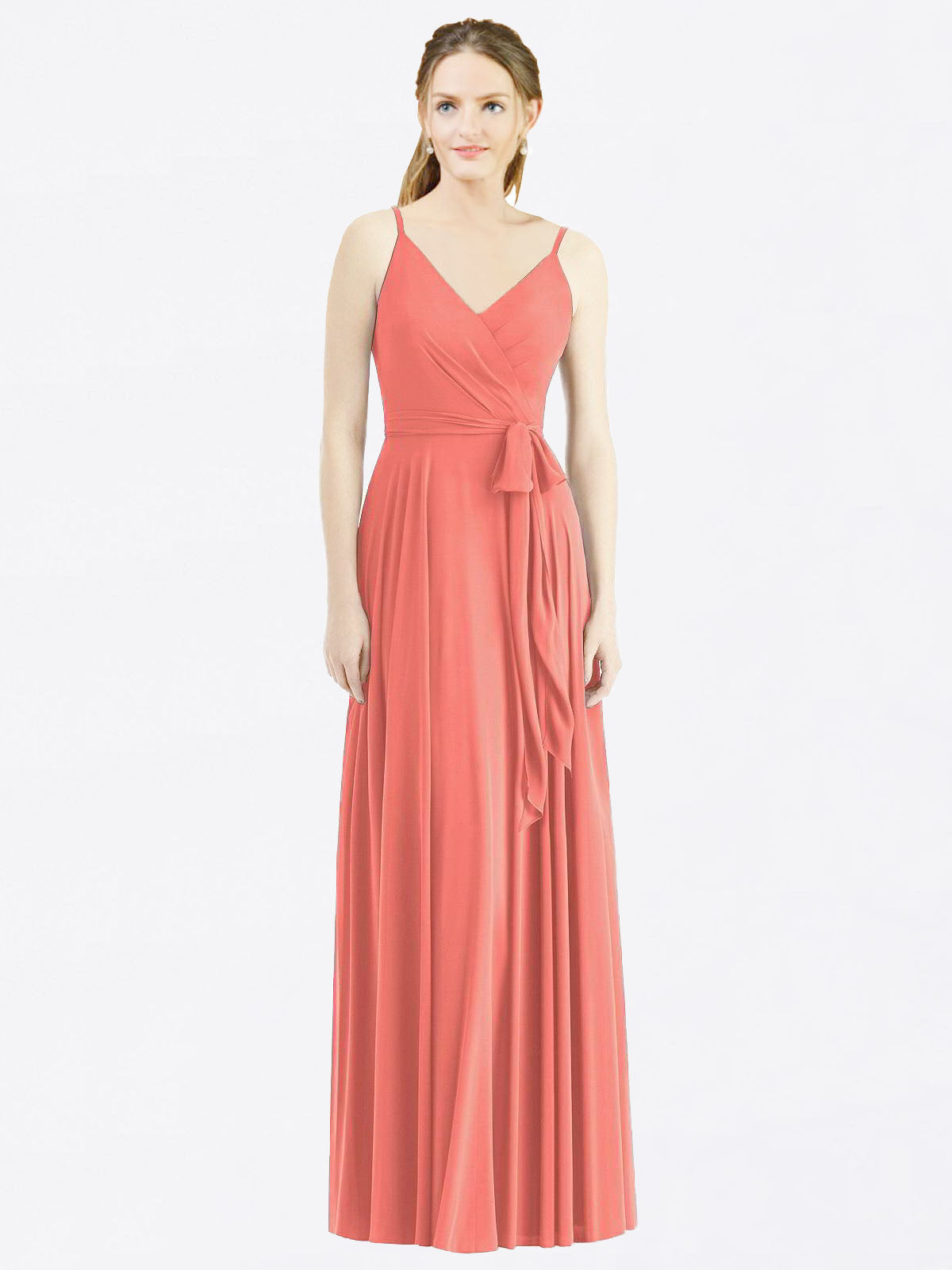 Long A-Line Spaghetti Straps, V-Neck Sleeveless Coral Chiffon Bridesmaid Dress Madilyn