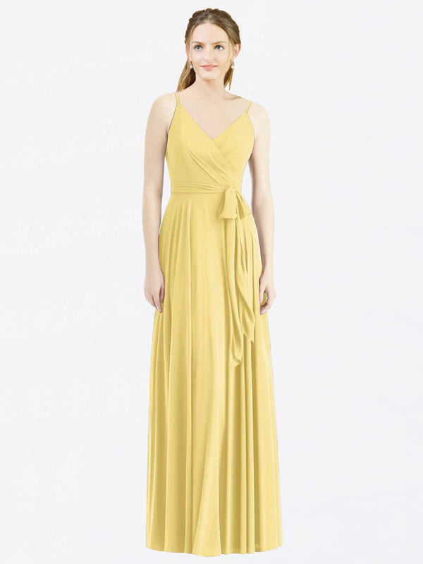 Long A-Line Spaghetti Straps, V-Neck Sleeveless Daffodil Chiffon Bridesmaid Dress Madilyn