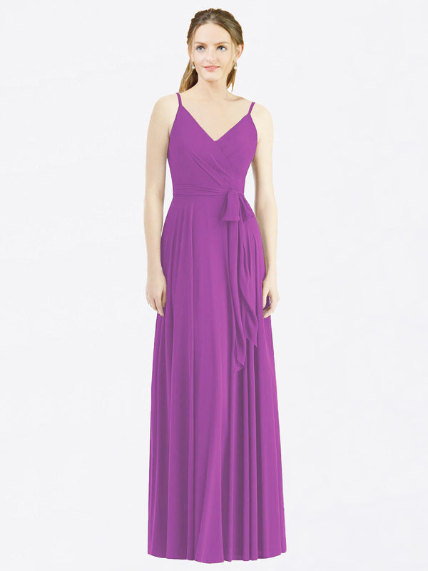 Long A-Line Spaghetti Straps, V-Neck Sleeveless Dahlia Chiffon Bridesmaid Dress Madilyn