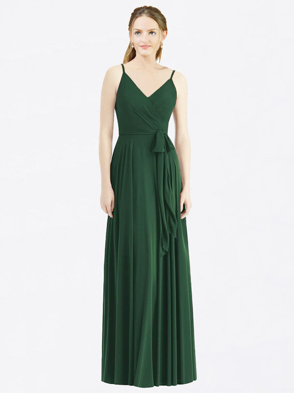 Long A-Line Spaghetti Straps, V-Neck Sleeveless Dark Green Chiffon Bridesmaid Dress Madilyn