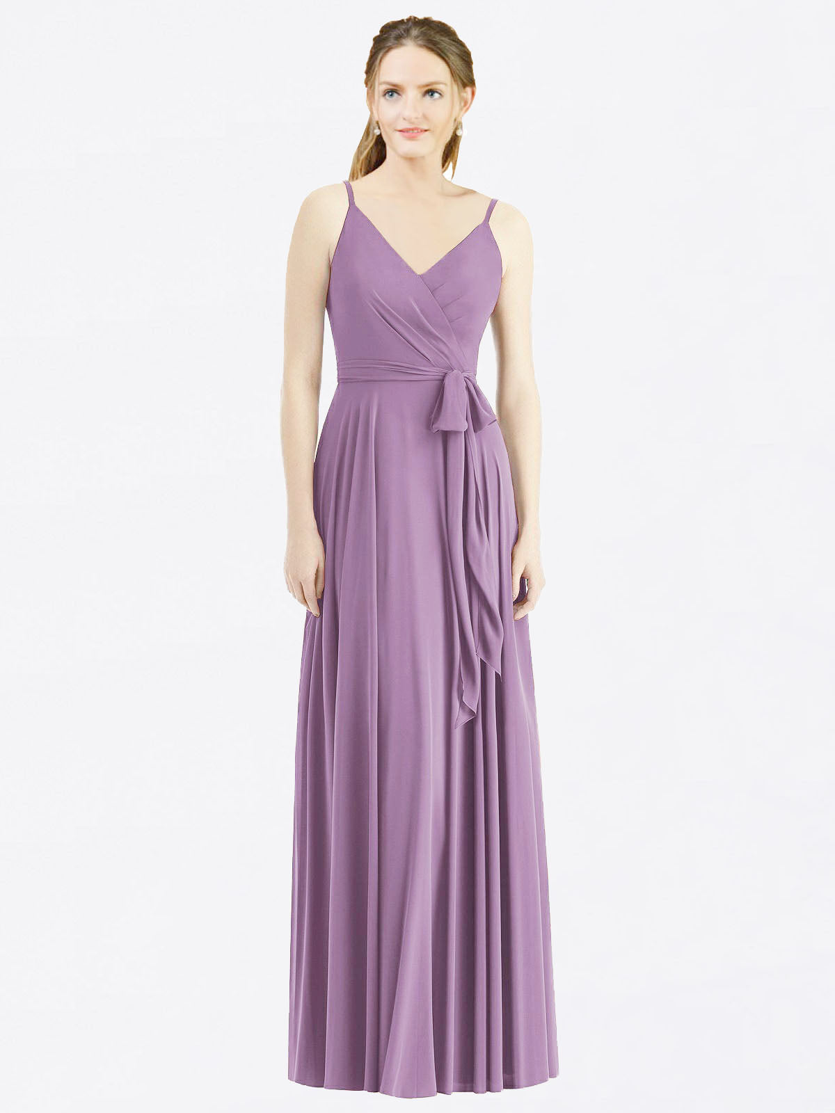 Long A-Line Spaghetti Straps, V-Neck Sleeveless Dark Lavender Chiffon Bridesmaid Dress Madilyn