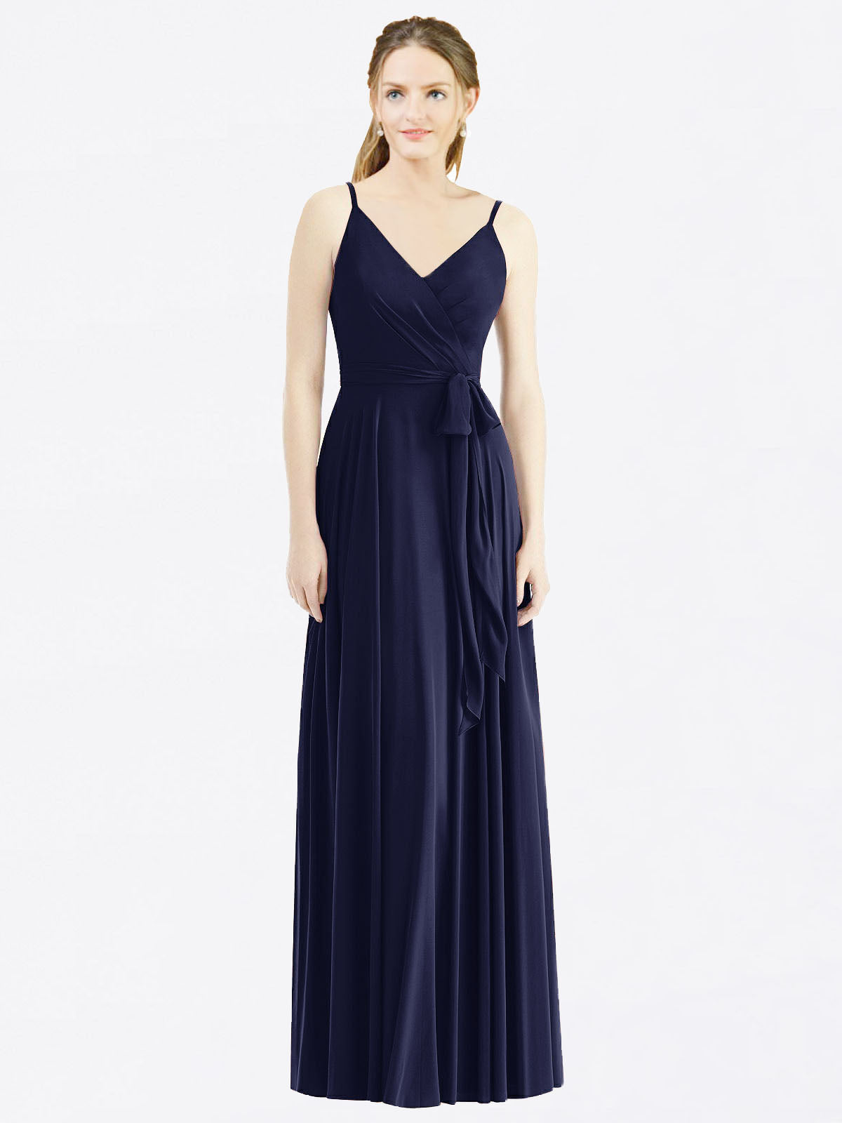 Long A-Line Spaghetti Straps, V-Neck Sleeveless Dark Navy Chiffon Bridesmaid Dress Madilyn