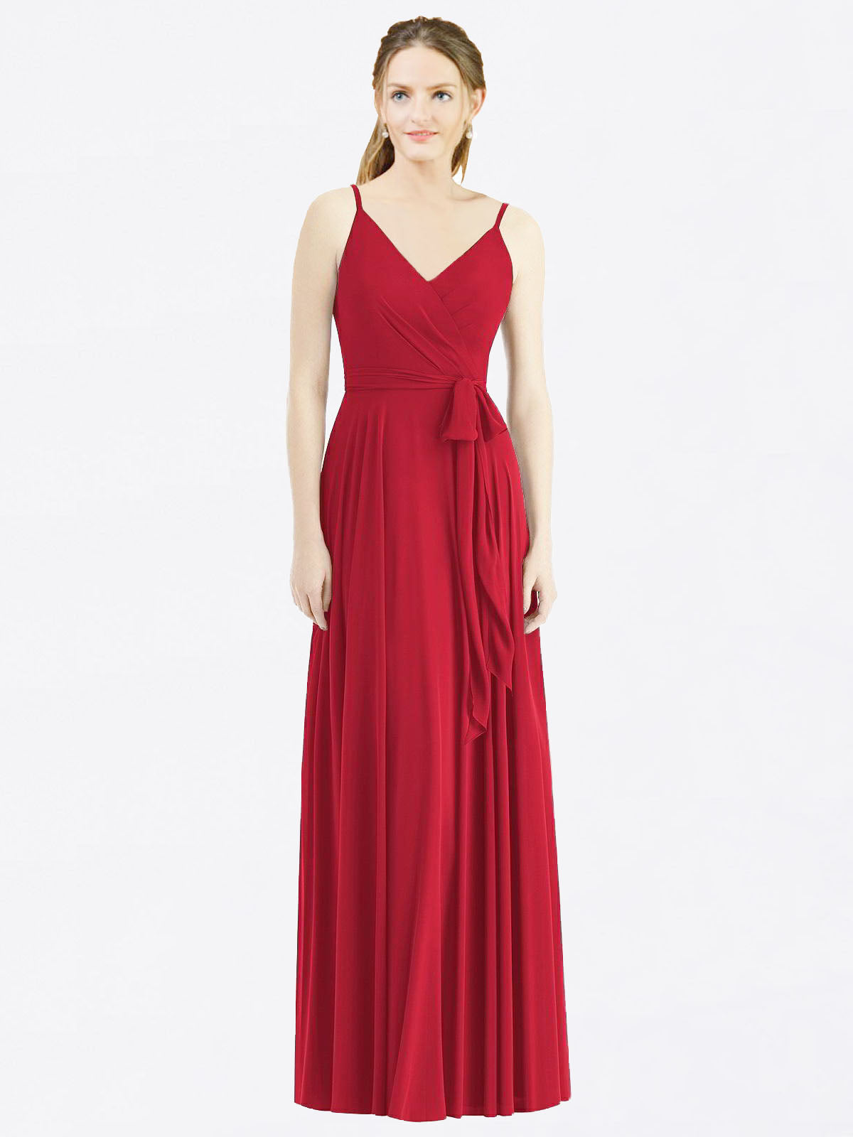 Long A-Line Spaghetti Straps, V-Neck Sleeveless Dark Red Chiffon Bridesmaid Dress Madilyn