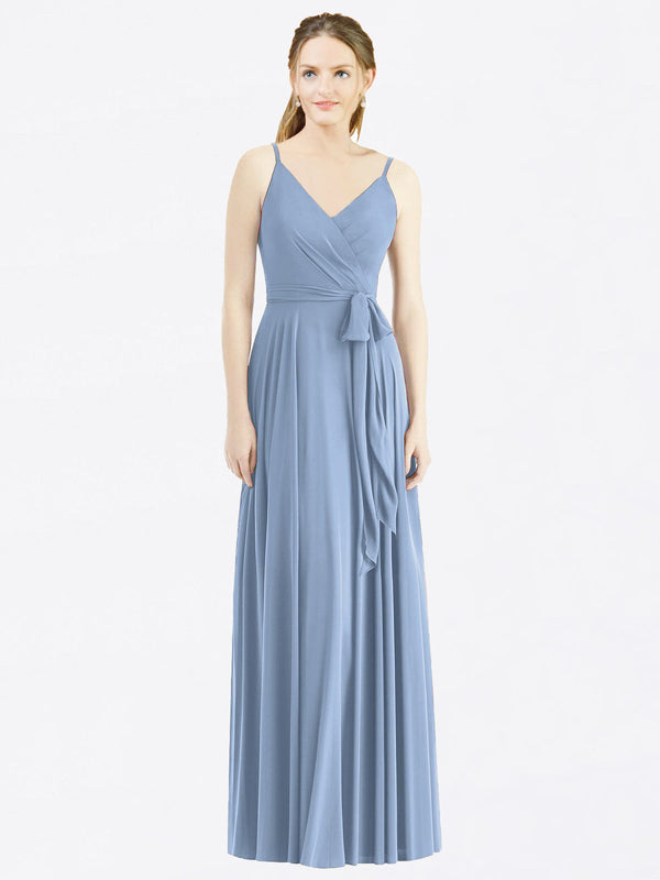 Long A-Line Spaghetti Straps, V-Neck Sleeveless Dusty Blue Chiffon Bridesmaid Dress Madilyn