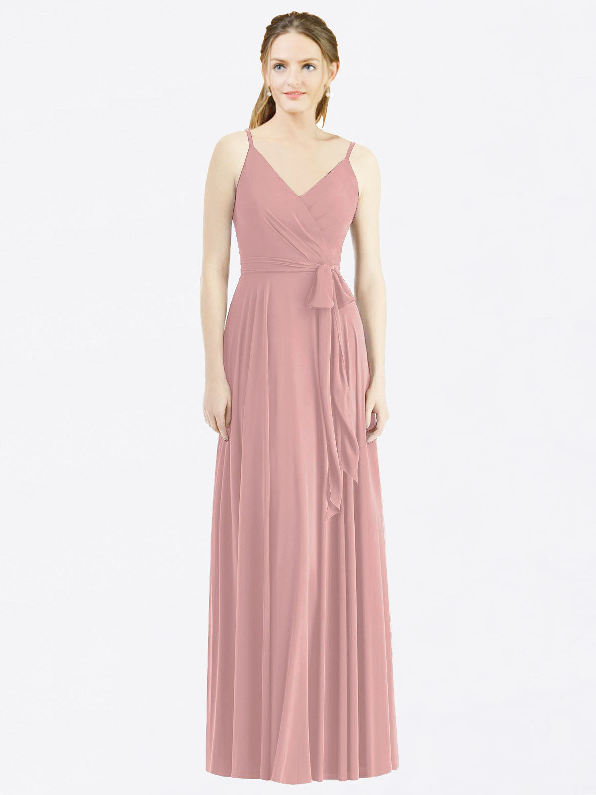 Long A-Line Spaghetti Straps, V-Neck Sleeveless Dusty Pink Chiffon Bridesmaid Dress Madilyn