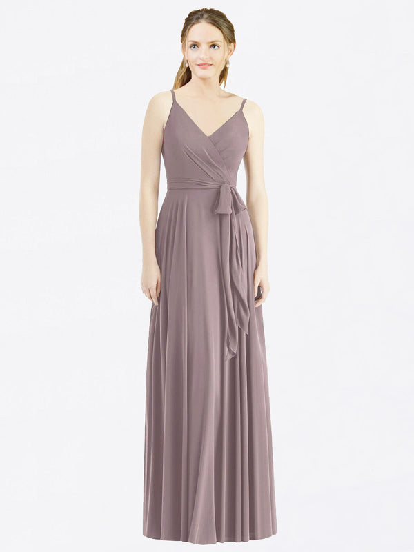 Long A-Line Spaghetti Straps, V-Neck Sleeveless Dusty Rose Chiffon Bridesmaid Dress Madilyn