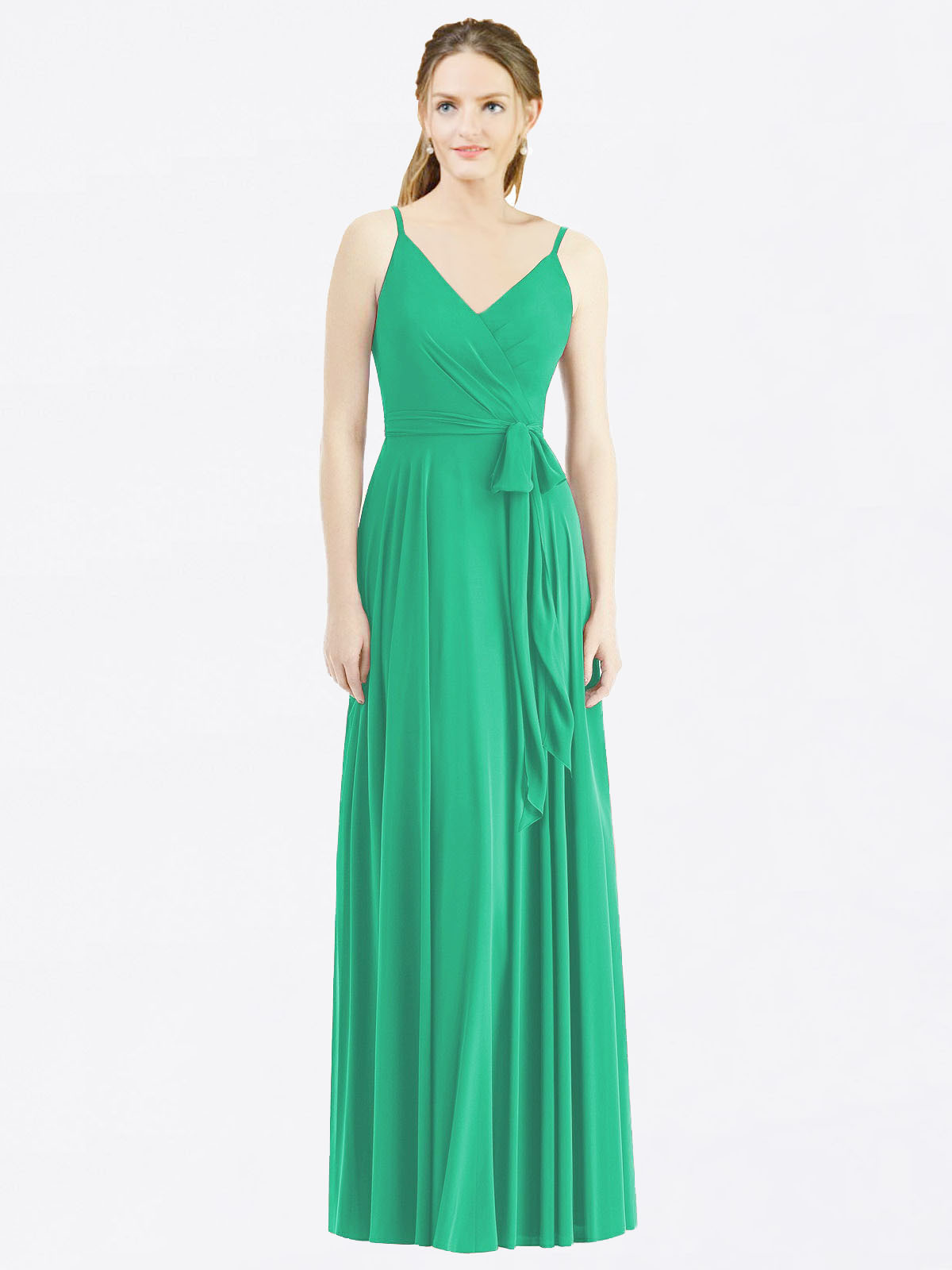 Long A-Line Spaghetti Straps, V-Neck Sleeveless Emerald Green Chiffon Bridesmaid Dress Madilyn