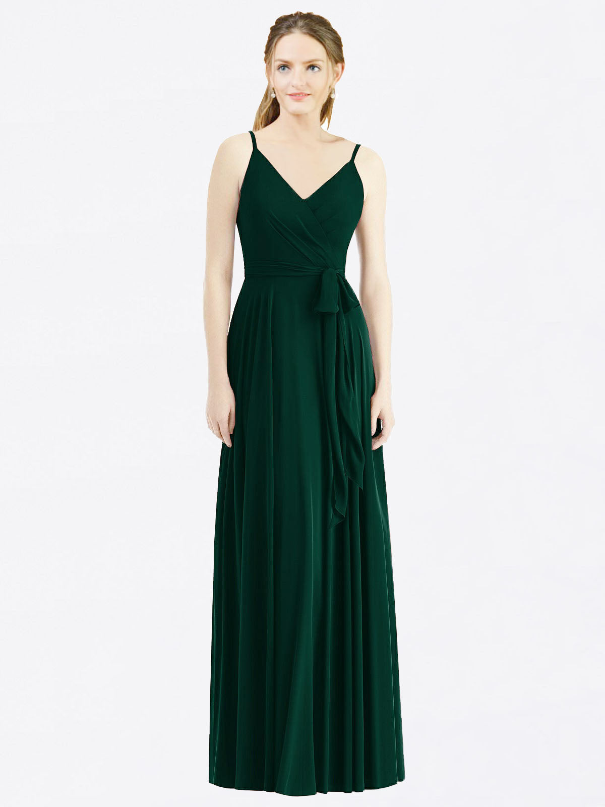Long A-Line Spaghetti Straps, V-Neck Sleeveless Ever Green Chiffon Bridesmaid Dress Madilyn