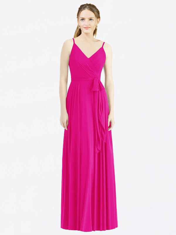 Long A-Line Spaghetti Straps, V-Neck Sleeveless Fuchsia Chiffon Bridesmaid Dress Madilyn