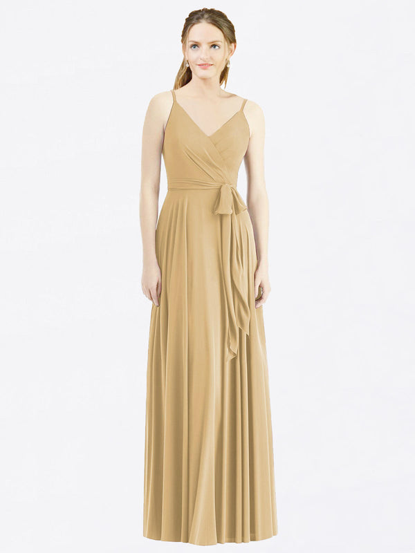 Long A-Line Spaghetti Straps, V-Neck Sleeveless Gold Chiffon Bridesmaid Dress Madilyn