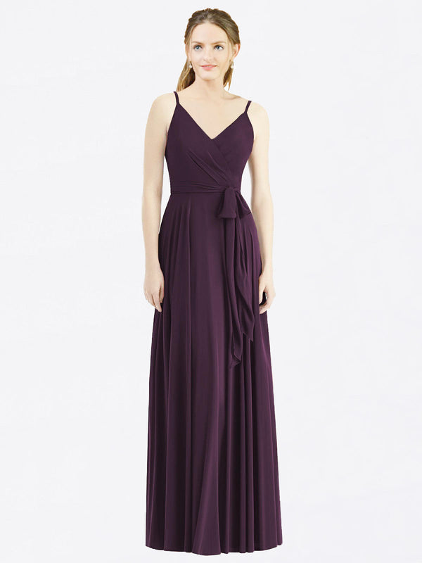 Long A-Line Spaghetti Straps, V-Neck Sleeveless Grape Chiffon Bridesmaid Dress Madilyn