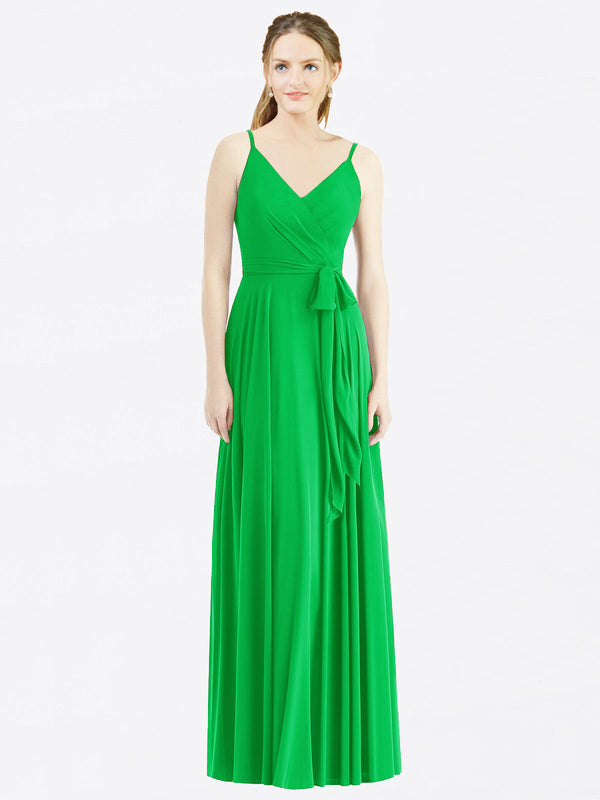 Long A-Line Spaghetti Straps, V-Neck Sleeveless Green Chiffon Bridesmaid Dress Madilyn