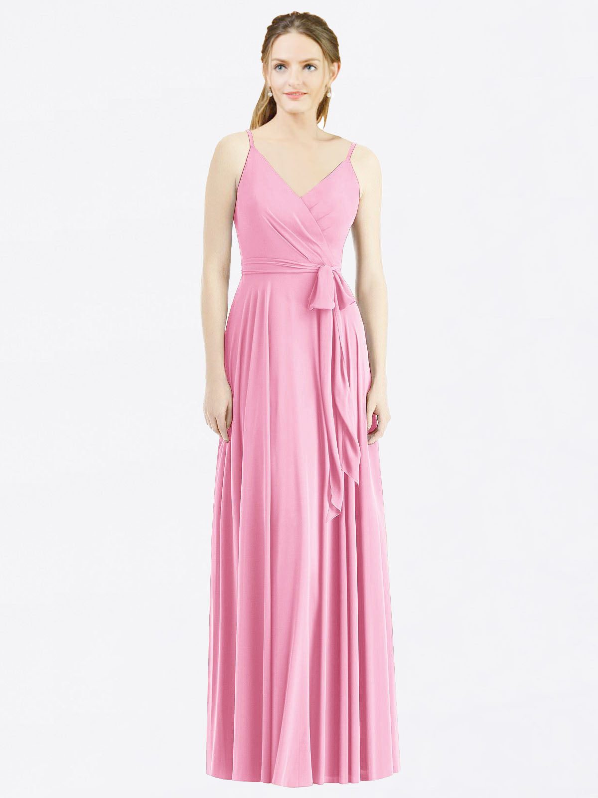 Long A-Line Spaghetti Straps, V-Neck Sleeveless Hot Pink Chiffon Bridesmaid Dress Madilyn