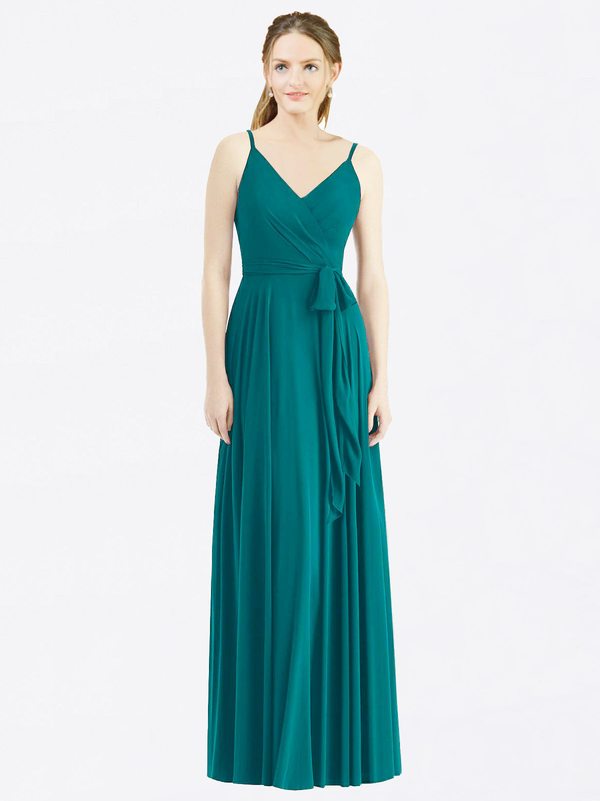 Long A-Line Spaghetti Straps, V-Neck Sleeveless Hunter Chiffon Bridesmaid Dress Madilyn