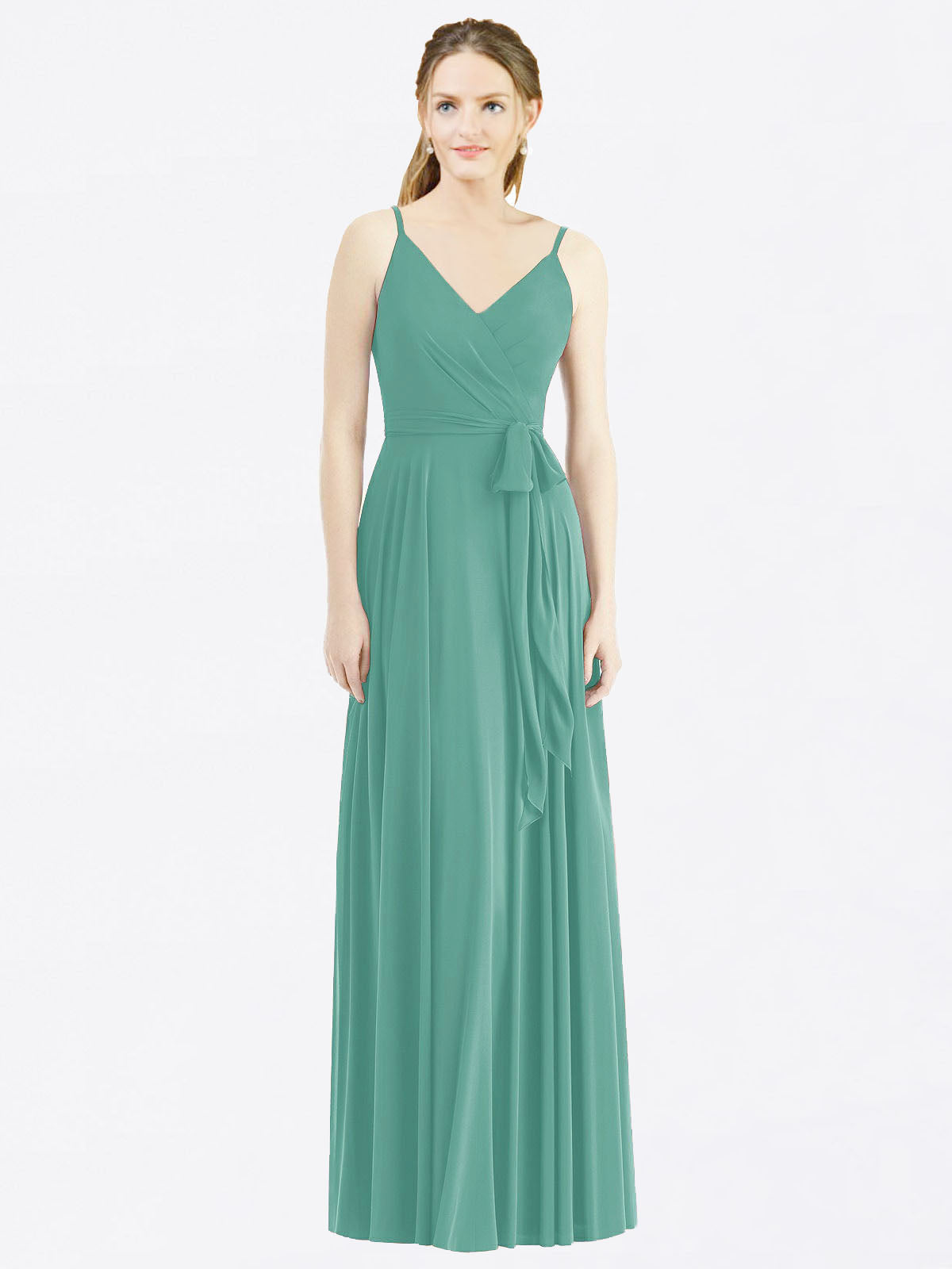 Long A-Line Spaghetti Straps, V-Neck Sleeveless Icelandic Silver Chiffon Bridesmaid Dress Madilyn