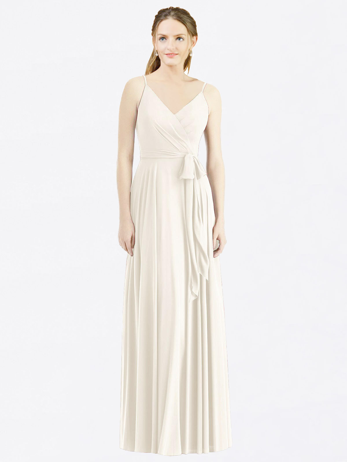 Long A-Line Spaghetti Straps, V-Neck Sleeveless Ivory Chiffon Bridesmaid Dress Madilyn