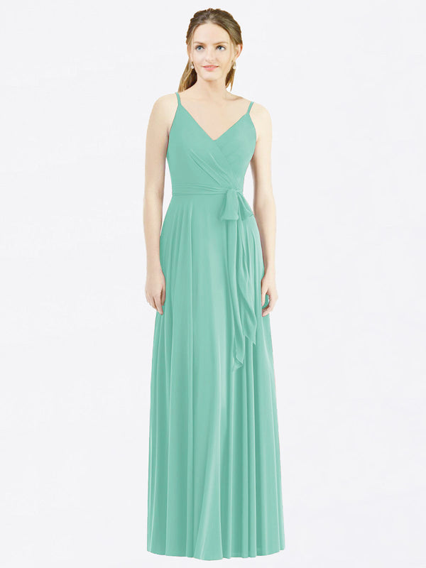 Long A-Line Spaghetti Straps, V-Neck Sleeveless Jade Chiffon Bridesmaid Dress Madilyn
