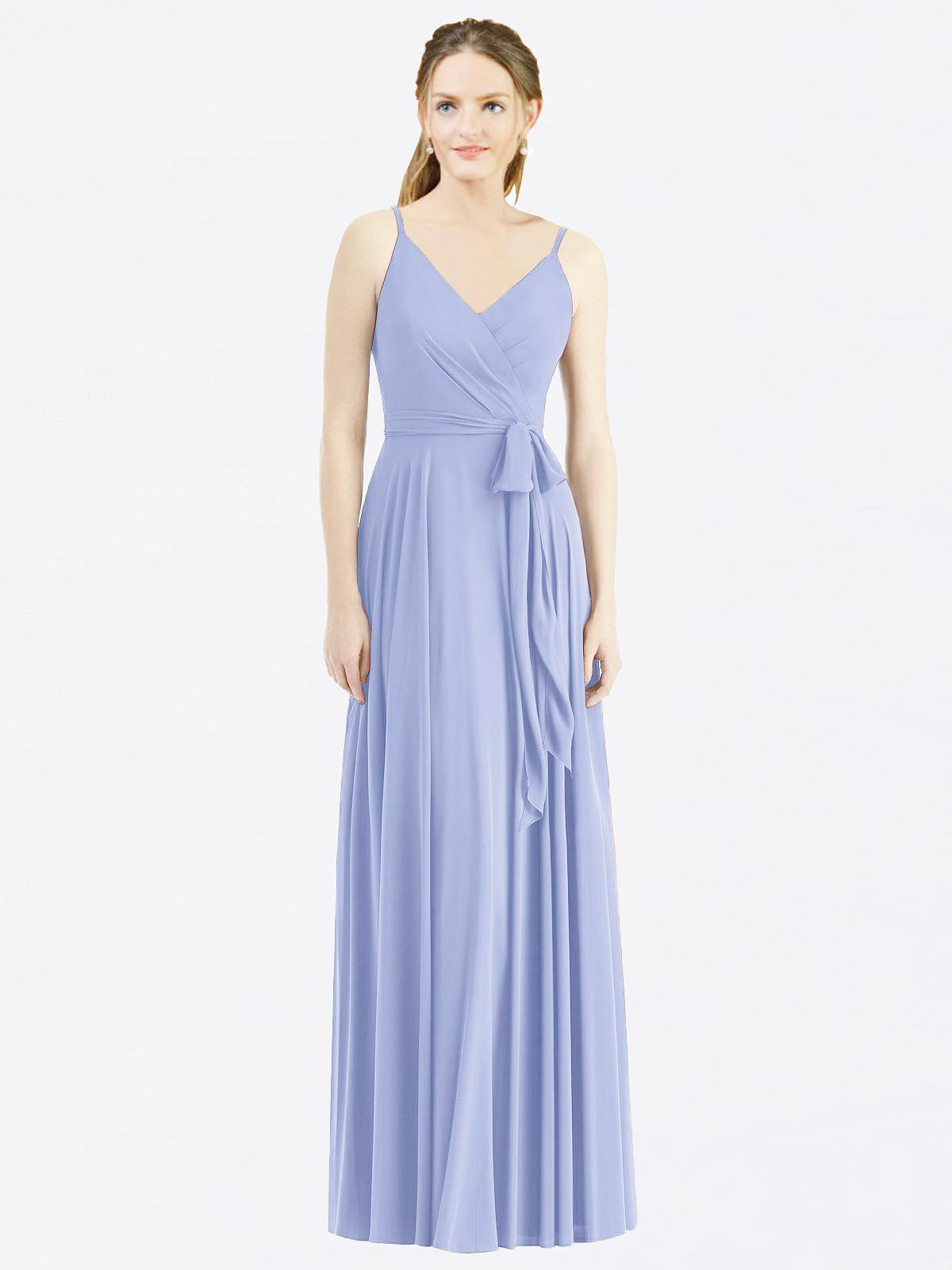 Long A-Line Spaghetti Straps, V-Neck Sleeveless Lavender Chiffon Bridesmaid Dress Madilyn