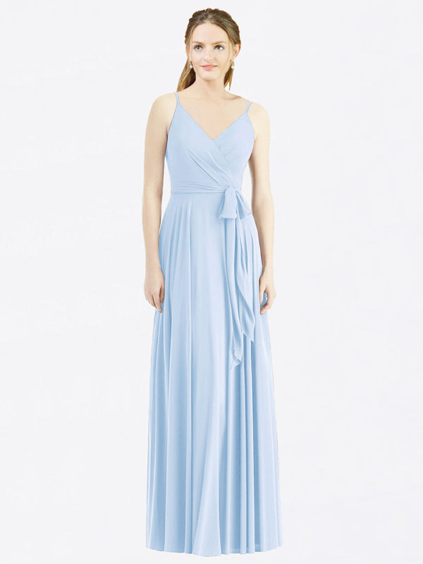 Long A-Line Spaghetti Straps, V-Neck Sleeveless Light Sky Blue Chiffon Bridesmaid Dress Madilyn