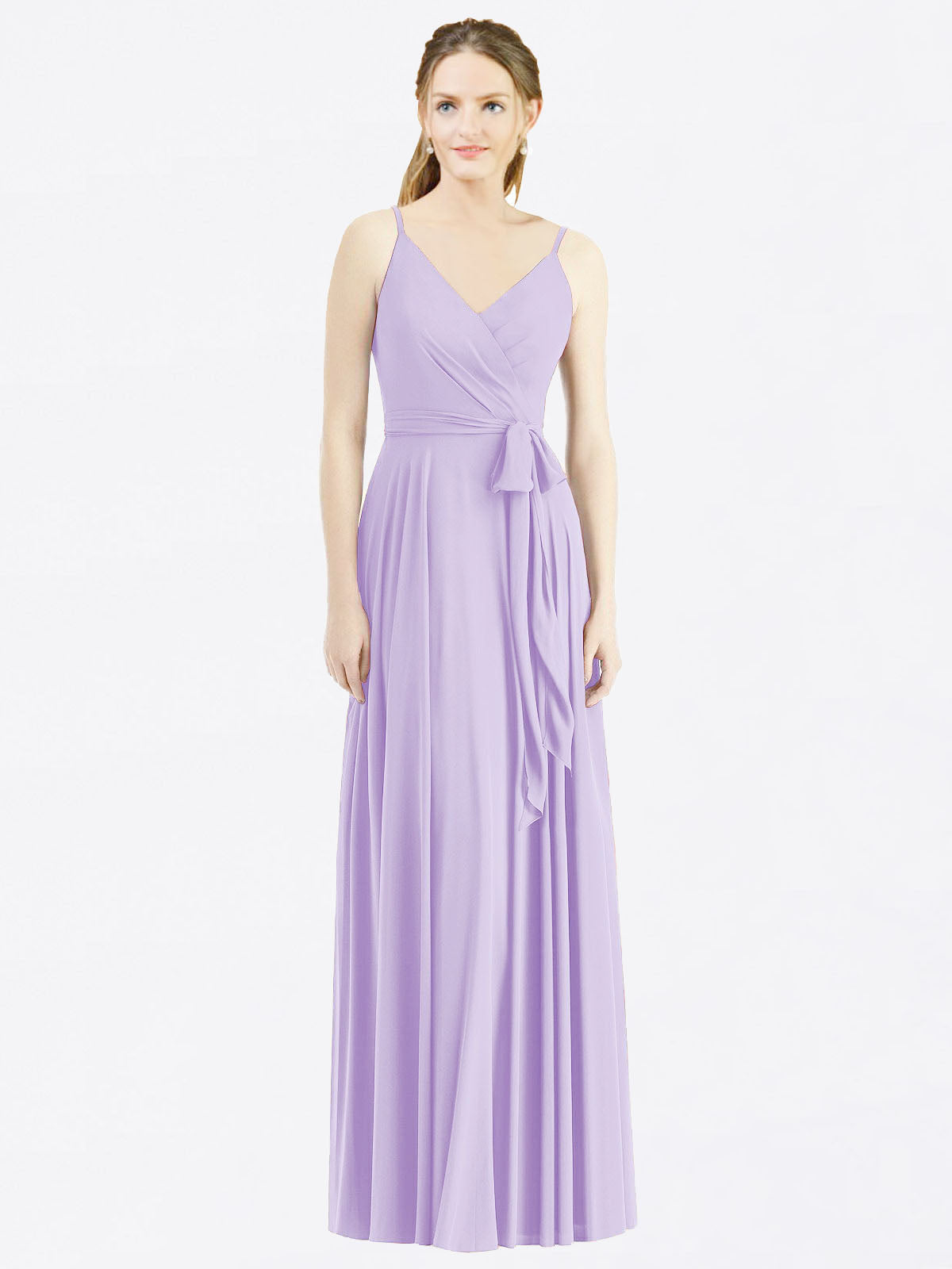 Long A-Line Spaghetti Straps, V-Neck Sleeveless Lilac Chiffon Bridesmaid Dress Madilyn