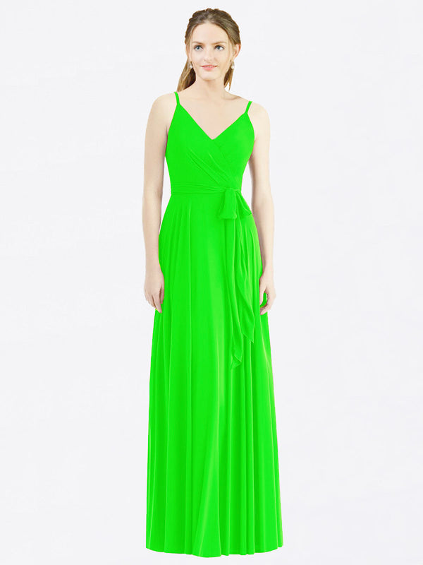Long A-Line Spaghetti Straps, V-Neck Sleeveless Lime Green Chiffon Bridesmaid Dress Madilyn