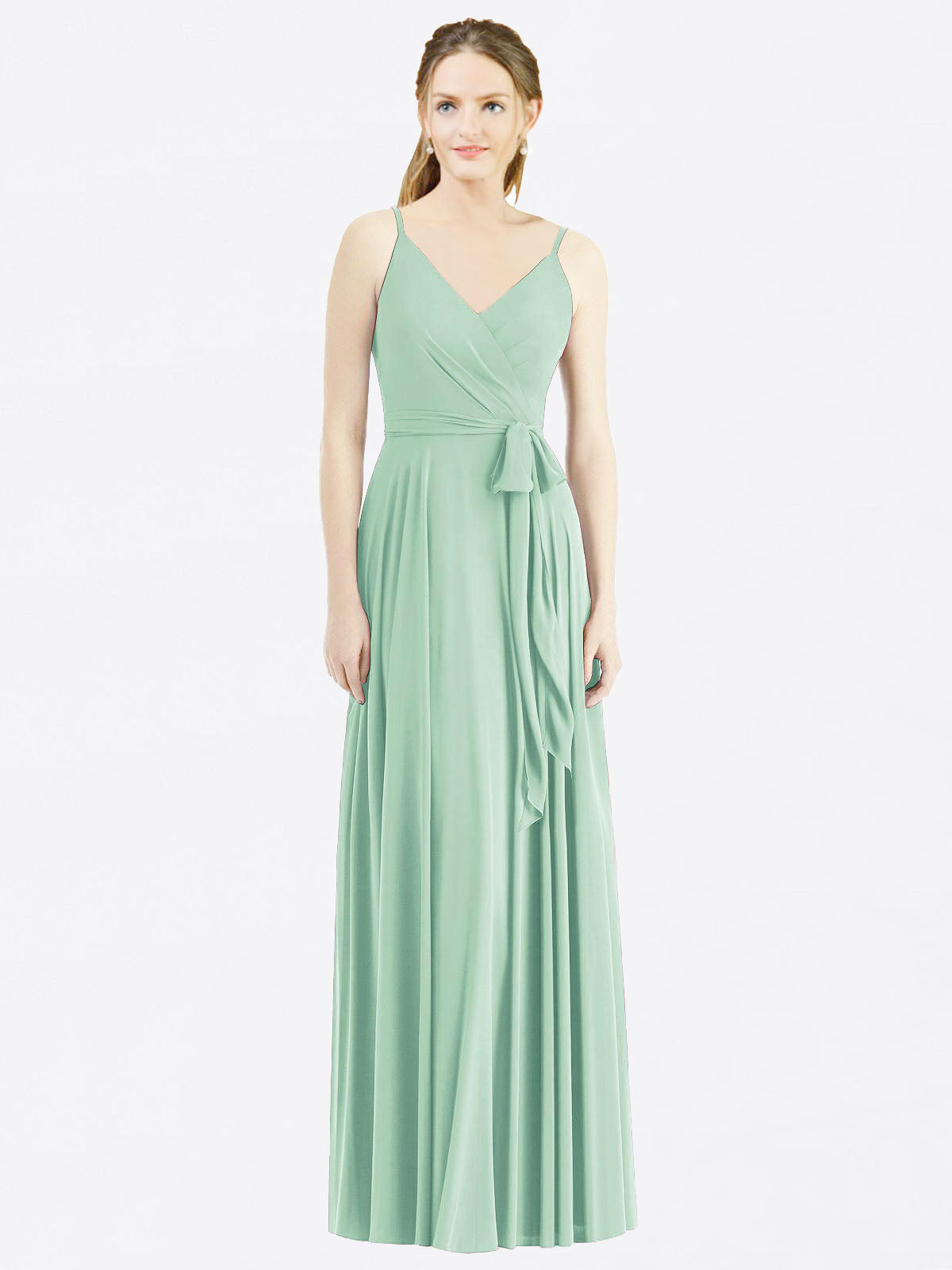 Long A-Line Spaghetti Straps, V-Neck Sleeveless Mint Green Chiffon Bridesmaid Dress Madilyn