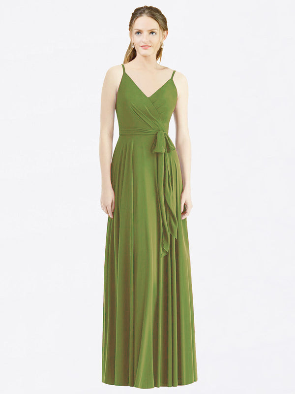 Long A-Line Spaghetti Straps, V-Neck Sleeveless Olive Green Chiffon Bridesmaid Dress Madilyn