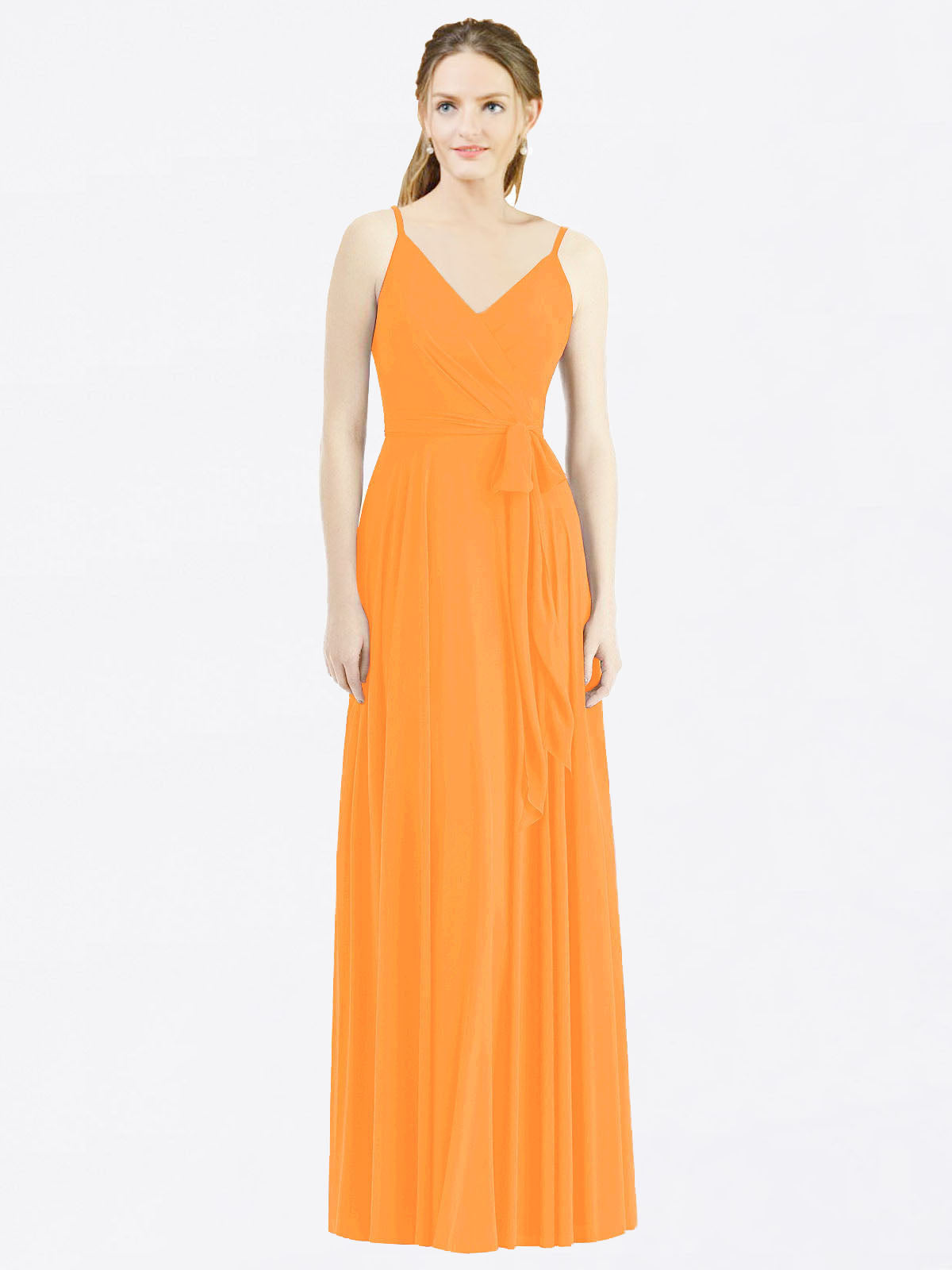 Long A-Line Spaghetti Straps, V-Neck Sleeveless Orange Chiffon Bridesmaid Dress Madilyn