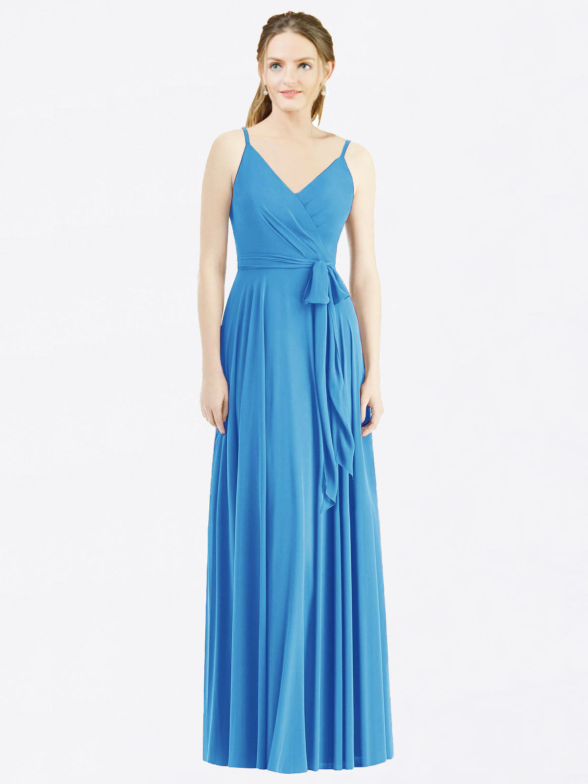 Long A-Line Spaghetti Straps, V-Neck Sleeveless Peacock Blue Chiffon Bridesmaid Dress Madilyn