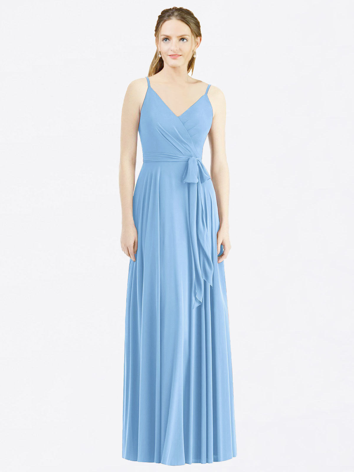 Long A-Line Spaghetti Straps, V-Neck Sleeveless Periwinkle Chiffon Bridesmaid Dress Madilyn