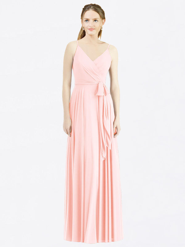 Long A-Line Spaghetti Straps, V-Neck Sleeveless Pink Chiffon Bridesmaid Dress Madilyn