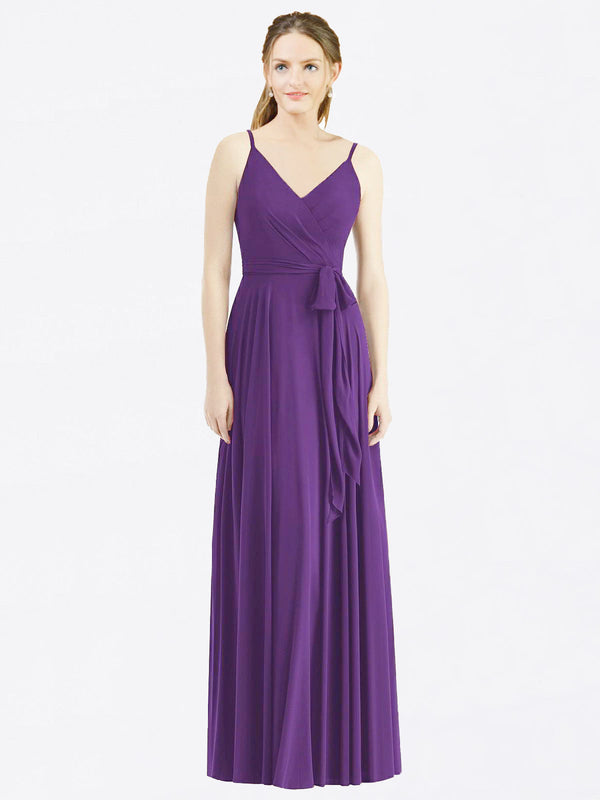 Long A-Line Spaghetti Straps, V-Neck Sleeveless Plum Purple Chiffon Bridesmaid Dress Madilyn