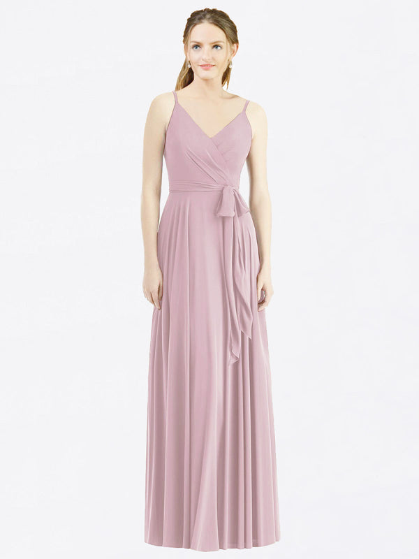 Long A-Line Spaghetti Straps, V-Neck Sleeveless Primrose Chiffon Bridesmaid Dress Madilyn