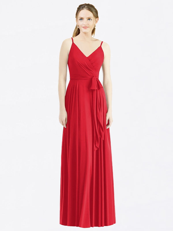 Long A-Line Spaghetti Straps, V-Neck Sleeveless Red Chiffon Bridesmaid Dress Madilyn