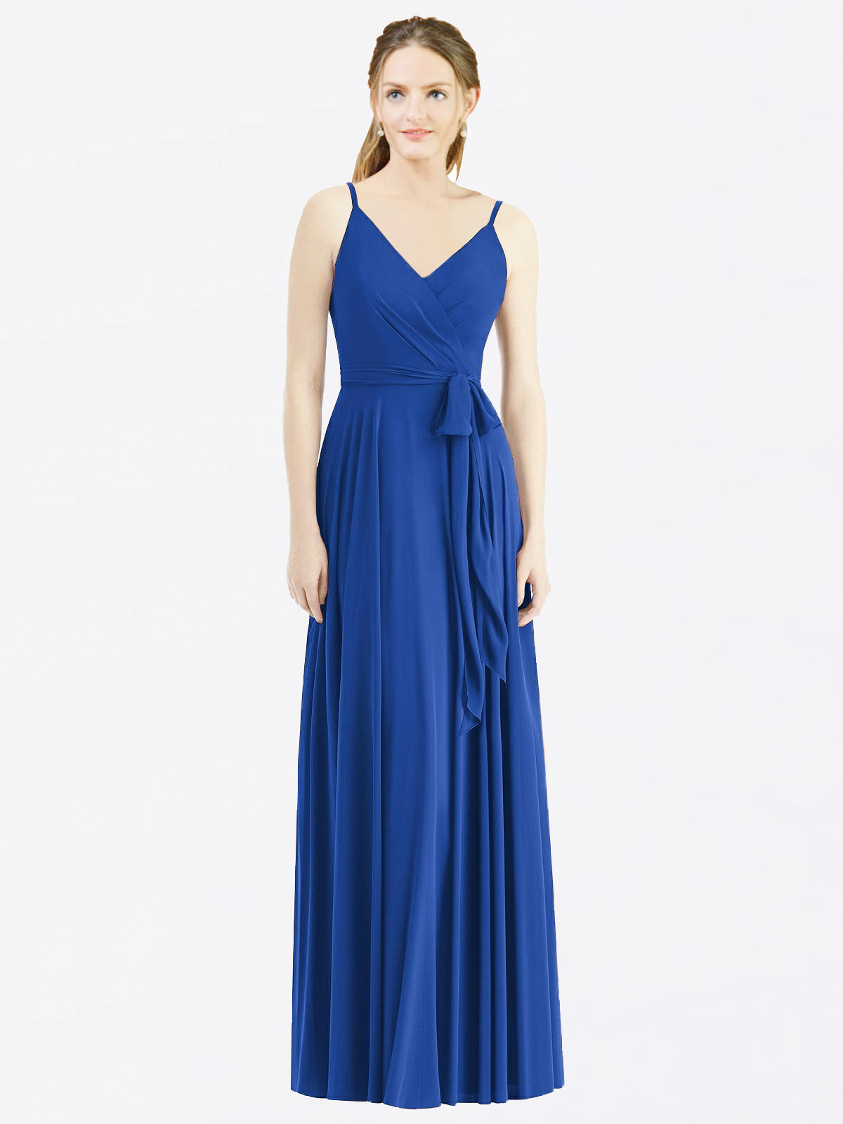Long A-Line Spaghetti Straps, V-Neck Sleeveless Royal Blue Chiffon Bridesmaid Dress Madilyn