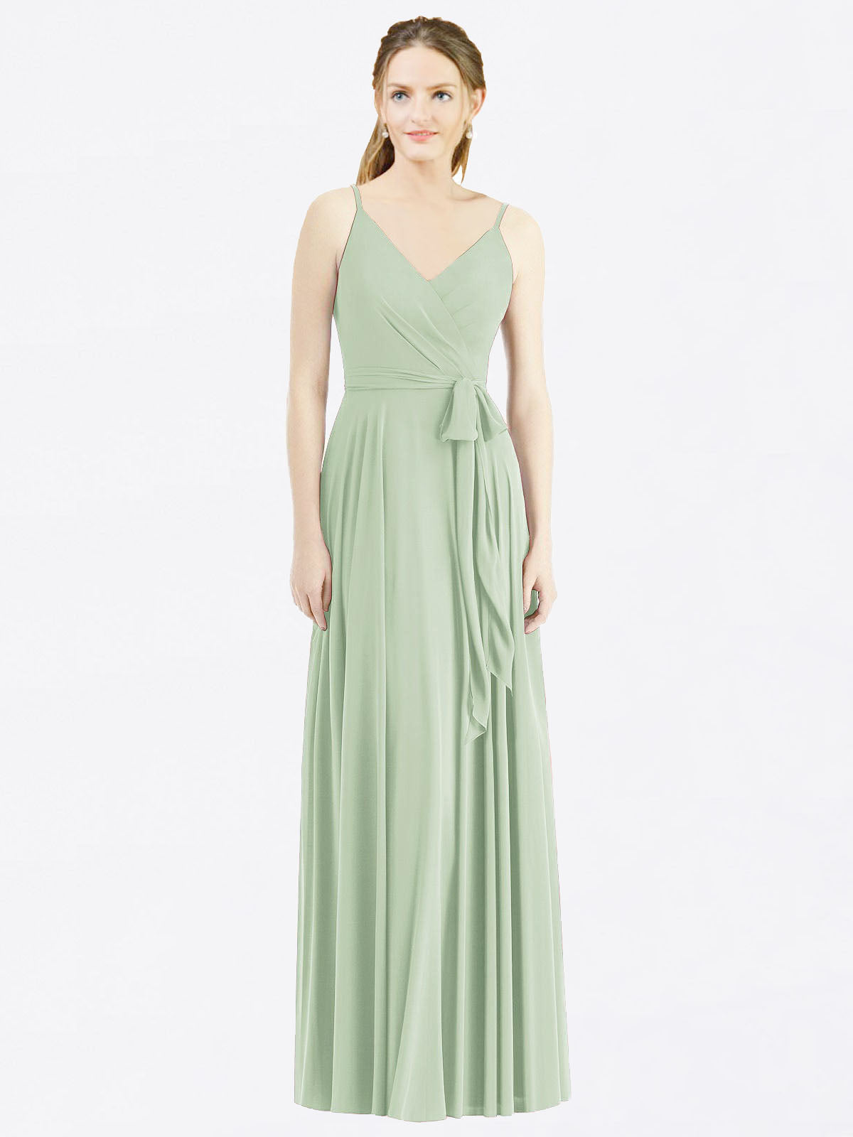 Long A-Line Spaghetti Straps, V-Neck Sleeveless Sage Chiffon Bridesmaid Dress Madilyn