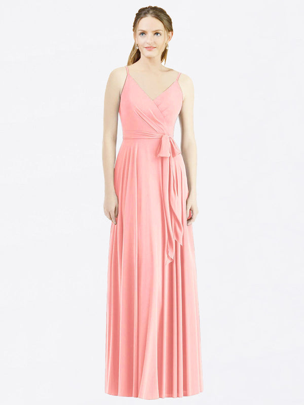 Long A-Line Spaghetti Straps, V-Neck Sleeveless Salmon Chiffon Bridesmaid Dress Madilyn